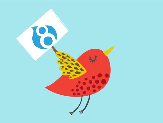 bird carrying drupal 8 sign