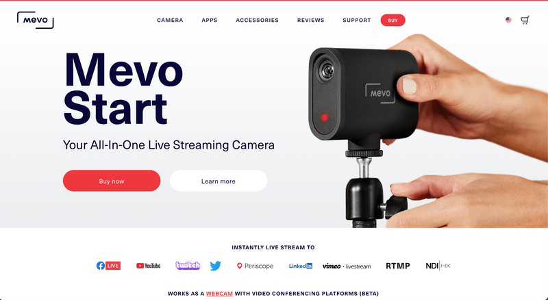 Mevo's Shopify Website Homepage