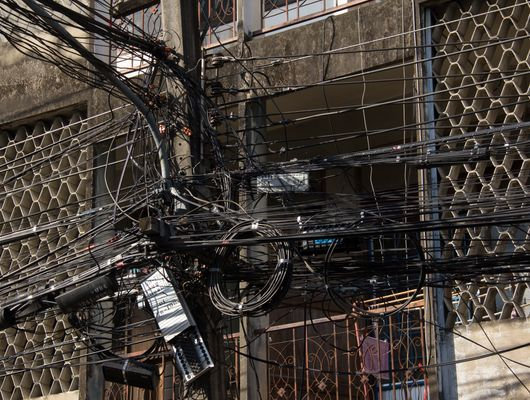 intersection of electrical cables